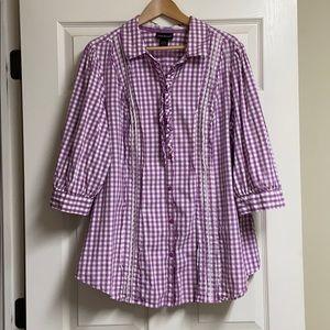 Lane Bryant Purple Button-up Top